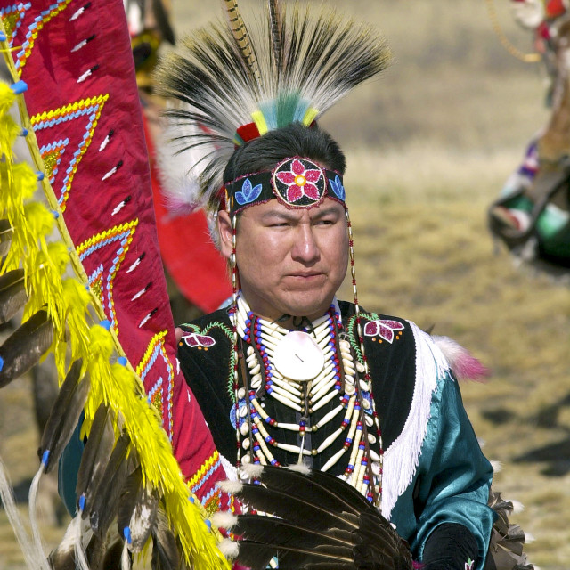 """CANADIAN PLAINS INDIAN IN TRADITIONAL COSTUME AND FEATHER HEAD-DRESS AND..."" stock image"
