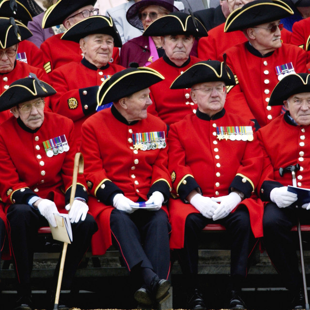 """Chelsea Pensioners - the Corps of war veterans cared for at the Royal..."" stock image"