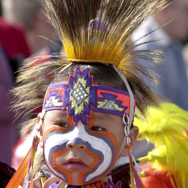 """Cree Indian child, First Nation Canadian, in traditional costume with face..."" stock image"