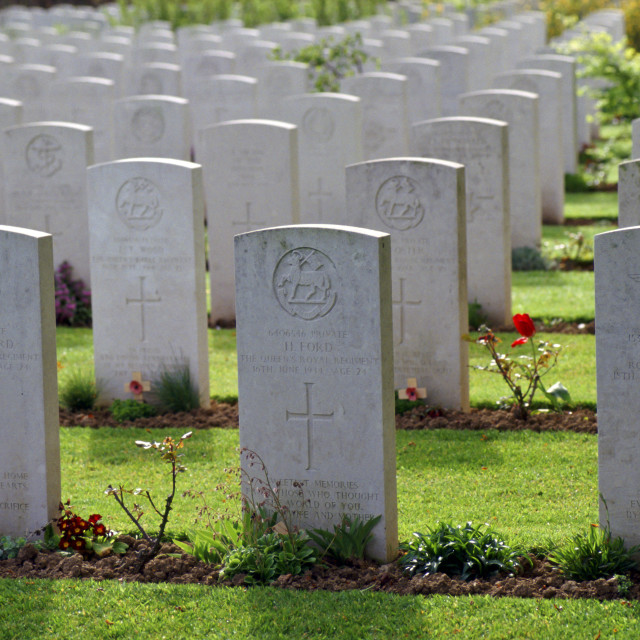 """British World War II graves, Commonwealth war cemetery, northern France"" stock image"
