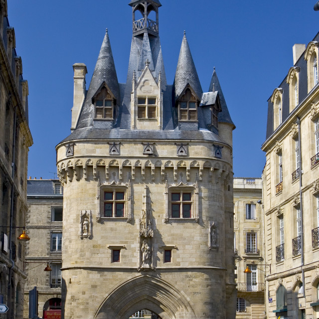 """Porte Cailhau 15th century entrance to city of Bordeaux marks victory of..."" stock image"
