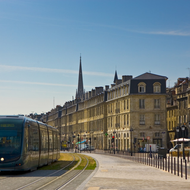 """Public transport tram system runs in old Bordeaux, France."" stock image"