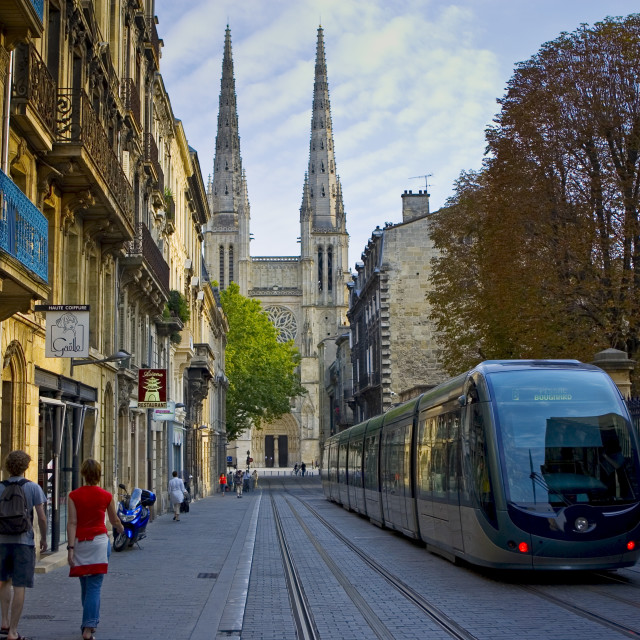 """New public transport ttram system by St Andre Cathedral, Bordeaux, France."" stock image"