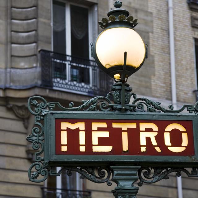 """Metro sign, Boulevard Saint Germain, Paris, France"" stock image"