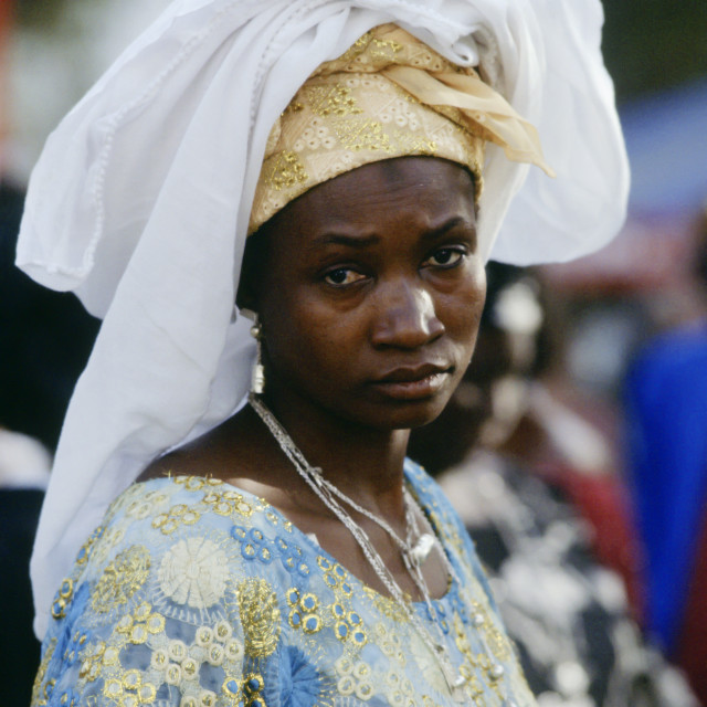 """""""Woman wearing traditional clothing, The Gambia, Africa"""" stock image"""