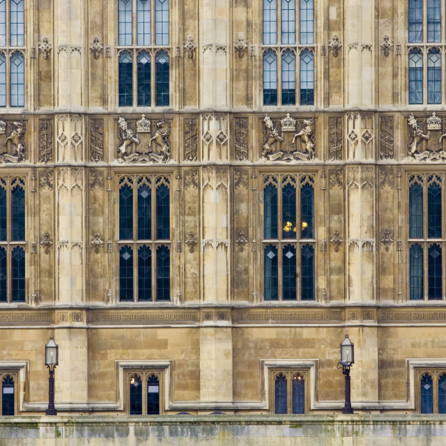 """Windows of Houses of Parliament, Palace of Westminster, United Kingdom"" stock image"