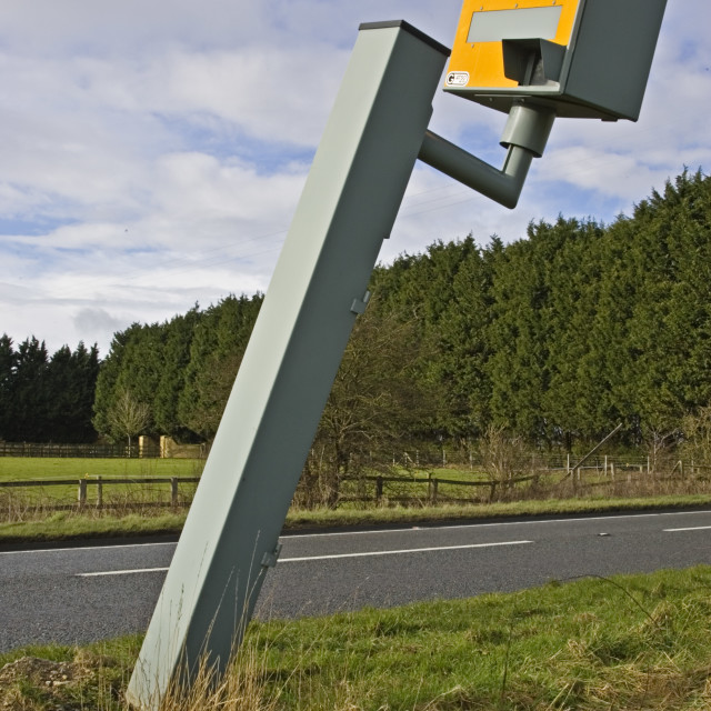 """Vandalised Gatso speed camera on A40, Oxfordshire, England, United Kingdom"" stock image"