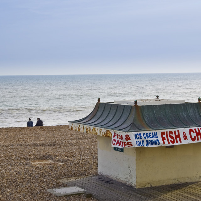 """Fish and chip shop on Brighton beach out of season, South Coast of England,..."" stock image"