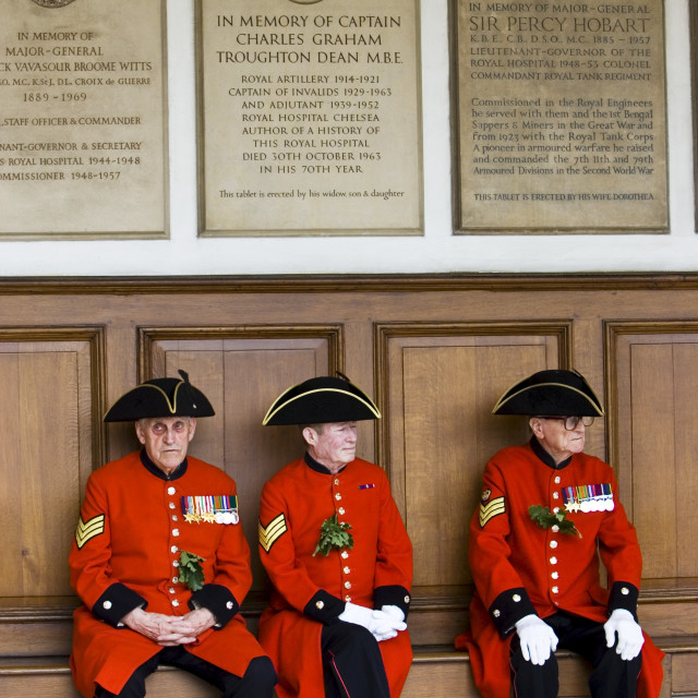 """Chelsea Pensioners at Founder's Day Parade, London, United Kingdom."" stock image"