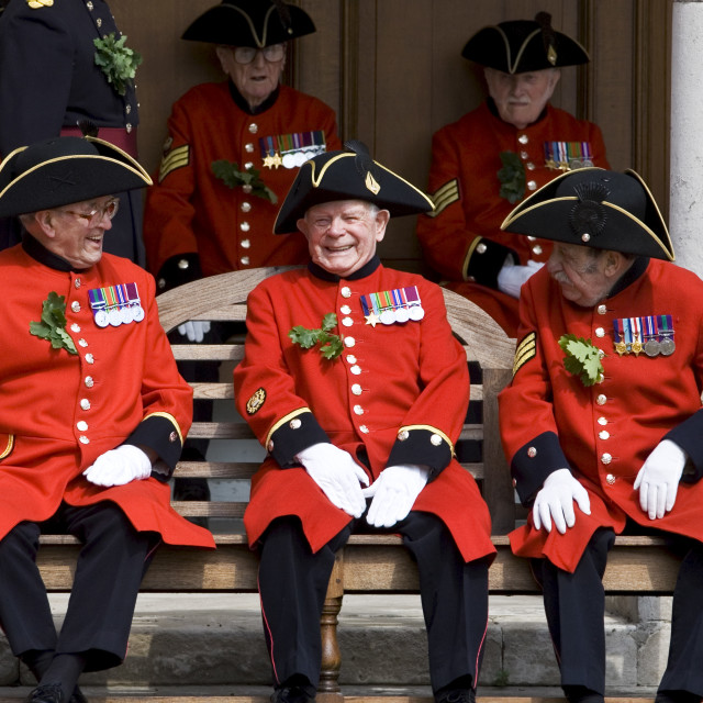"""""""Chelsea Pensioners at Royal Hospital Chelsea for Founder's Day Parade,..."""" stock image"""