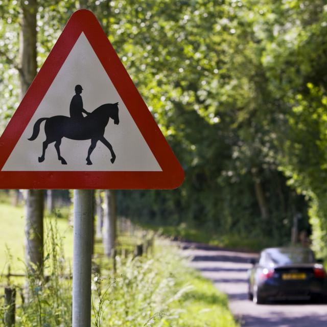 """Car passes Accompanied horses or ponies warning sign by roadside, Dorset, UK"" stock image"
