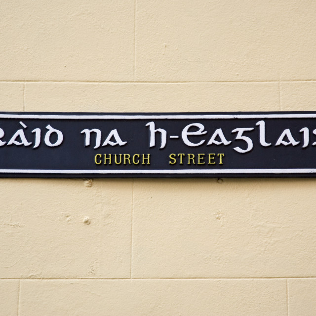 """Bilingual road sign English and Scottish Gaelic street name, Stornoway,..."" stock image"