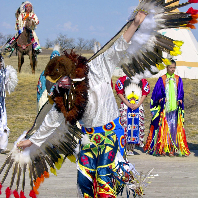 """Canadian Plains Indians at cultural display at Wanuskewin Heritage Park in..."" stock image"