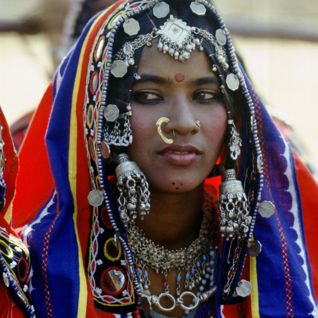 """Young girl in national costume and jewels, Devara Yamzal, India."" stock image"