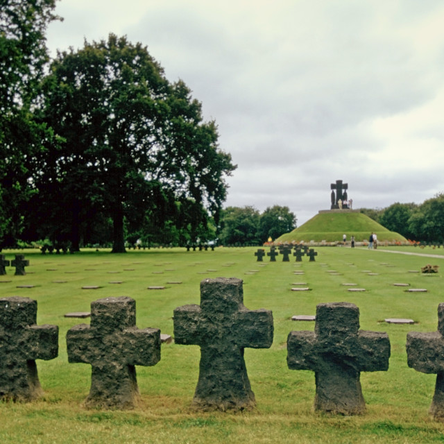 """Headstones at a German Military Cemetery where 21,222 Germans are buried at..."" stock image"