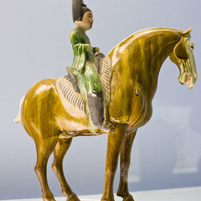 """Sancai pottery figure on horseback on display in the Shanghai Museum, China"" stock image"