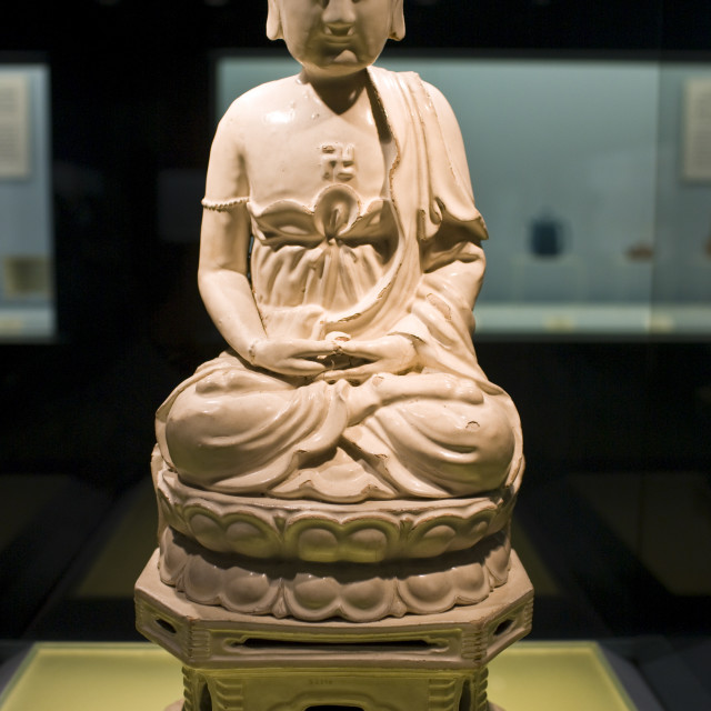 """Ceramic Buddha figure on display in the Shanghai Museum, China"" stock image"
