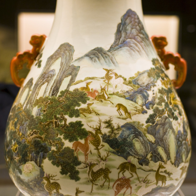 """Ming vase on display in the Shanghai Museum, China"" stock image"