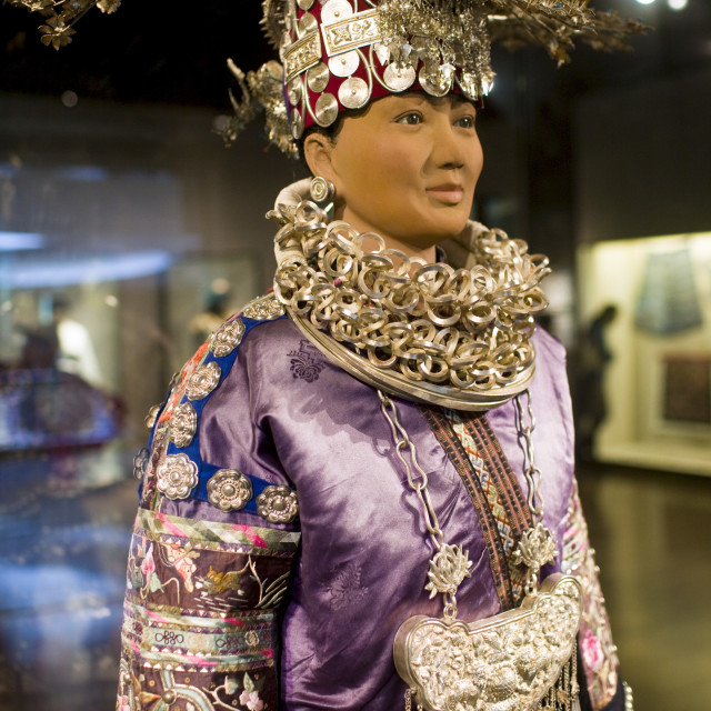 """Chinese costume and Miao silver jewellery on display in the Shanghai Museum,..."" stock image"