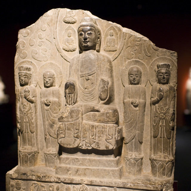"""Sakyamuni Buddha stone from the Northern Qi Dynasty on display in the..."" stock image"