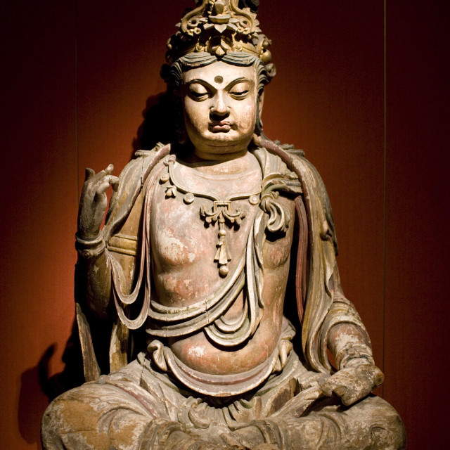 """Stone Buddha figure of Bodhisattva on display in the Shanghai Museum, China"" stock image"