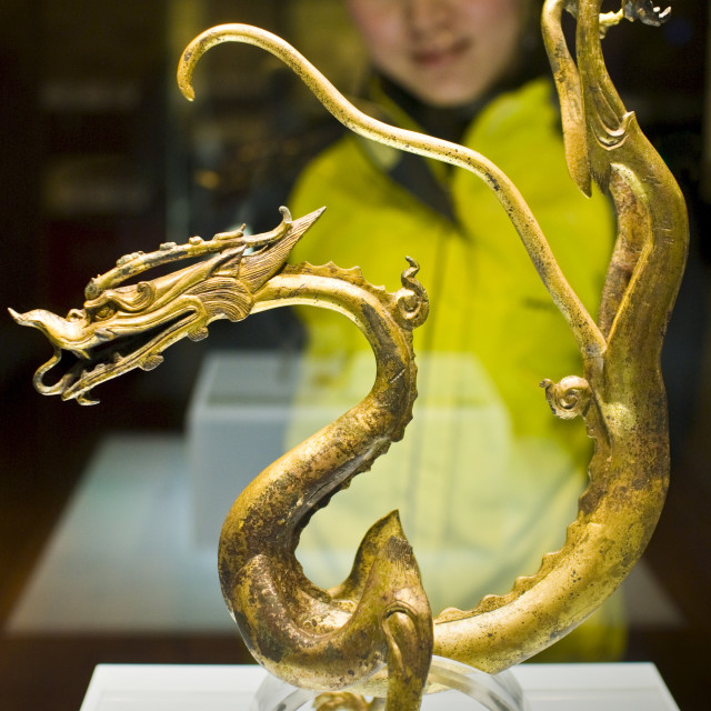 """Visitor look at a Chinese dragon ornament on display in glass case in the..."" stock image"