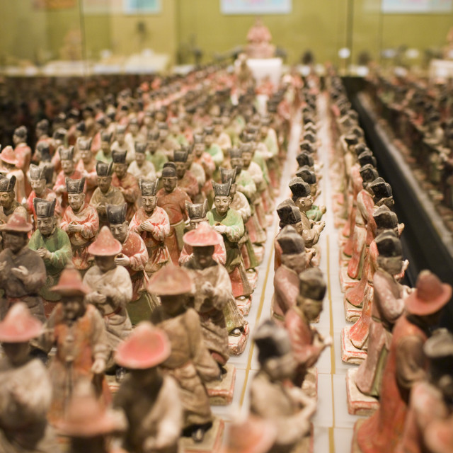 """Figurines on display in glass case in the Shaanxi History Museum, Xian, China"" stock image"