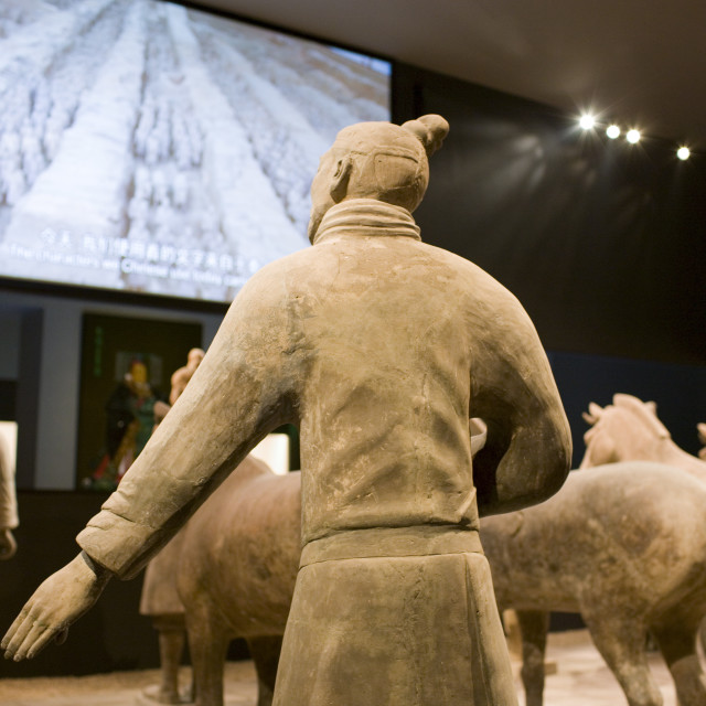 """Terracotta warriors on display in the Shaanxi History Museum, Xian, China"" stock image"