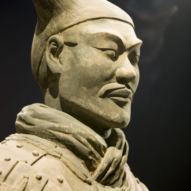 """Terracotta warrior on display in the Shaanxi History Museum, Xian, China"" stock image"