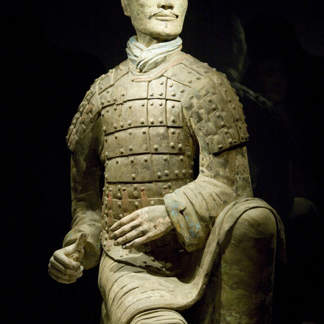 """Three coloured kneeling archer Terracotta warrior on display in the Shaanxi..."" stock image"