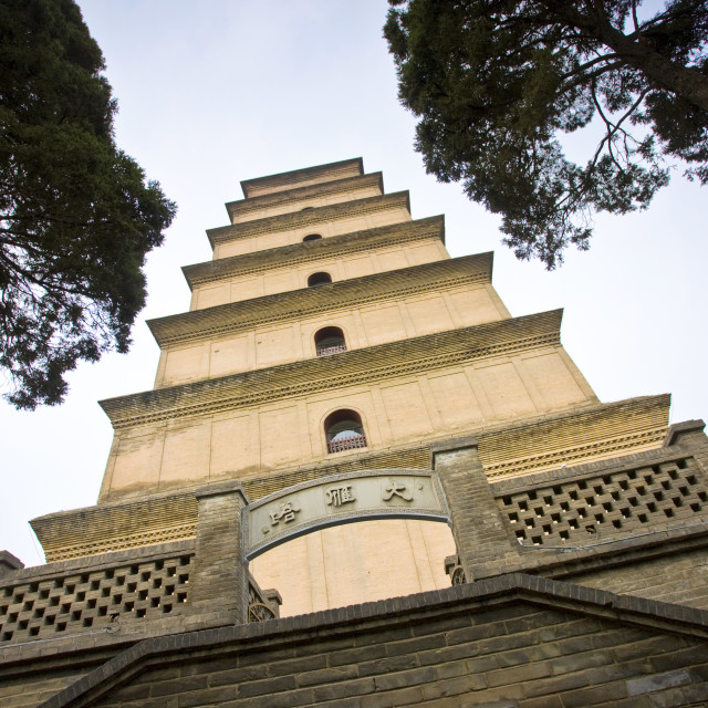 """Big Wild Goose Pagoda, Tang dynasty architecture, Xian, China"" stock image"