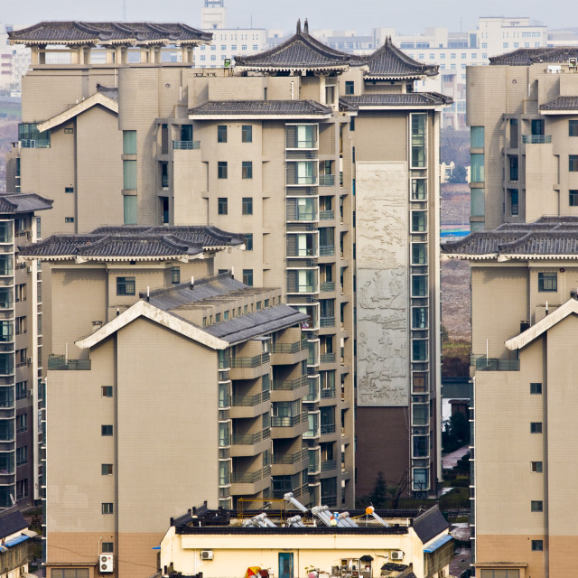 """View of apartment blocks in Xian seen from the Dayan Pagoda, China"" stock image"