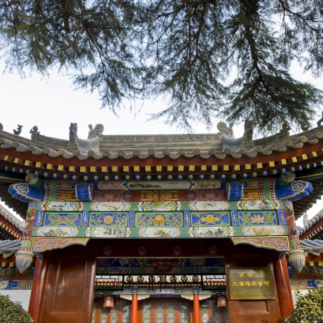"""Traditional pagoda style architecture in Xian, China"" stock image"