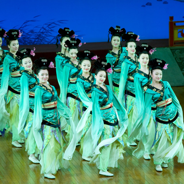 """Dancers performing in the Tang Dance Show, Shaanxi Grand Opera House, Xian,..."" stock image"