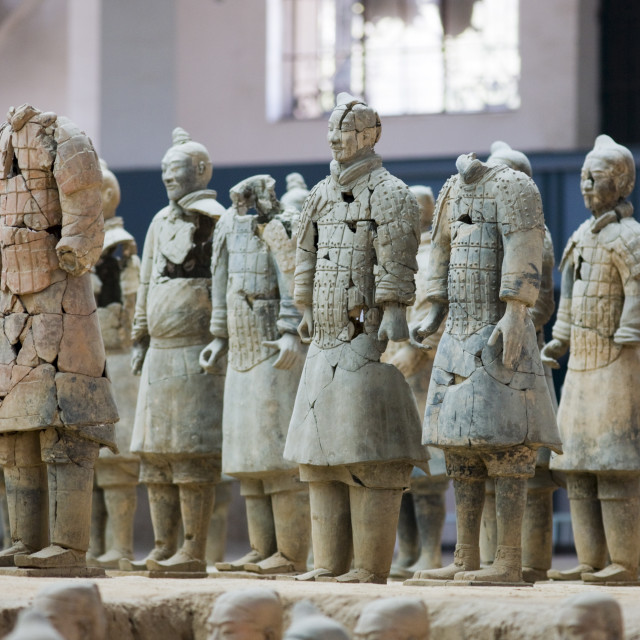 """Incomplete infantry men figures at Qin Museum, exhibition halls of Terracotta..."" stock image"