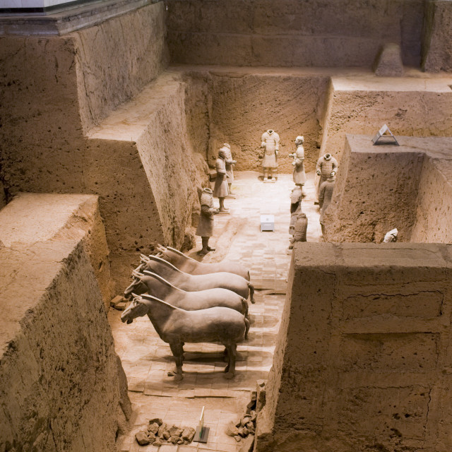 """Tourists view Pit 3 containing horses and warriors as they were found, at Qin..."" stock image"