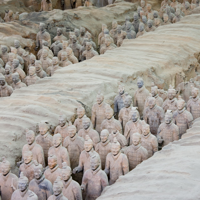 """Infantry men figures in Pit 1 at Qin Museum, exhibition halls of Terracotta..."" stock image"