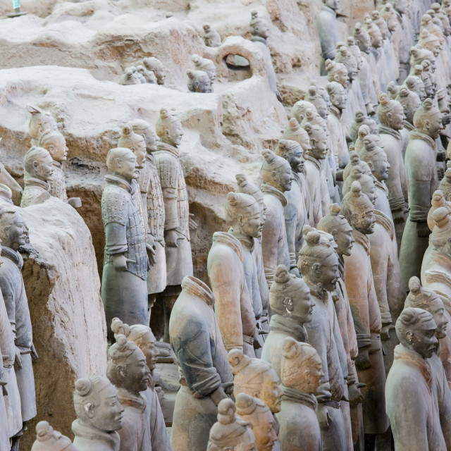 """""""Infantry men figures in Pit 1 at Qin Museum, exhibition halls of Terracotta..."""" stock image"""