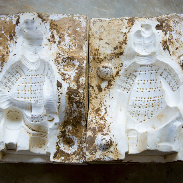 """""""Mould used to make Terracotta Warriors souvenirs in factory, Xian, China"""" stock image"""