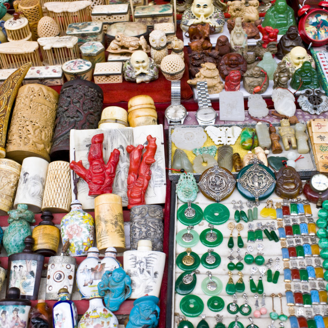 """Market souvenir stall in Moslem district of Xian, China"" stock image"