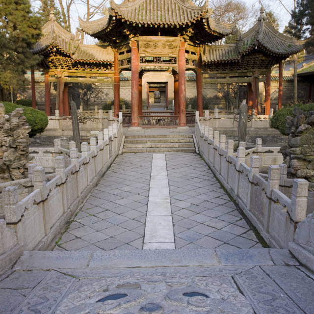 """Phoenix Pavilion at the Great Mosque in the Muslim area of Xian, China"" stock image"