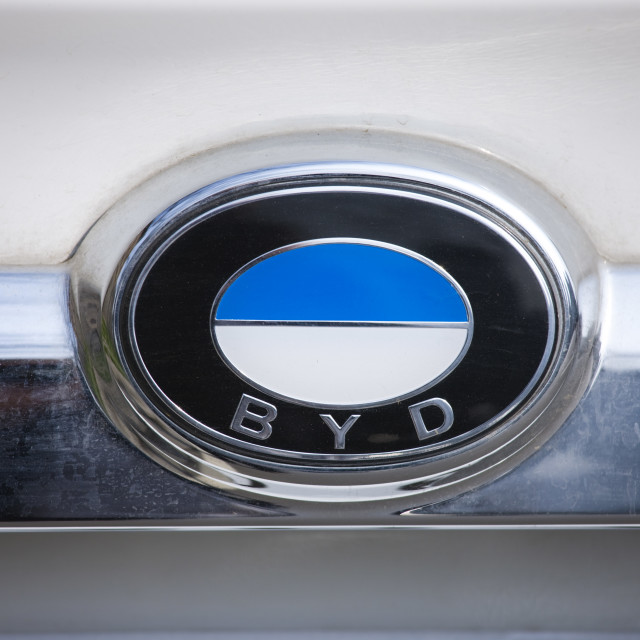 """""""BYD logo, car manufacturers (similar in appearance to BMW logo), Xian, China"""" stock image"""