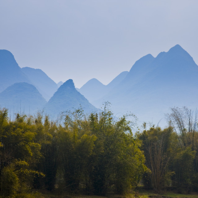 """""""Karsh formation mountains in the distance Guilin, China"""" stock image"""
