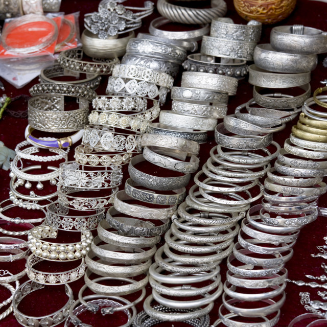 """""""Bracelets for sale on souvenir stall in Ping An, Guilin, China"""" stock image"""