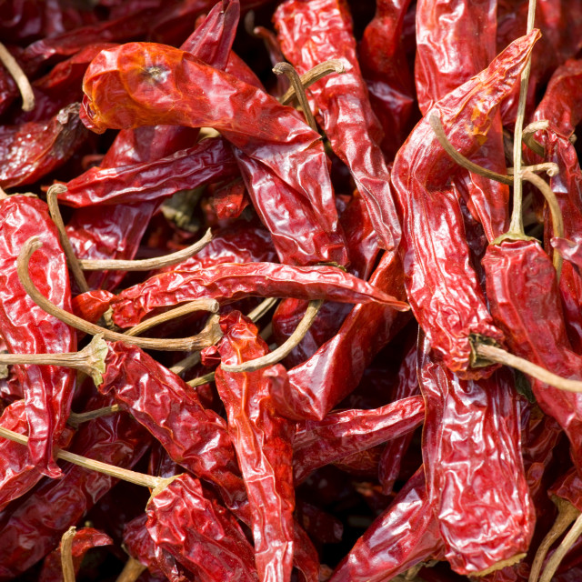 """Sun-dried chillies on sale in Ping An, Guilin, China"" stock image"