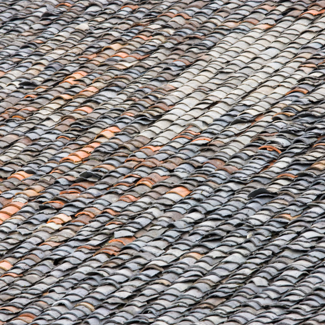 """""""Roof tiles in Ping An, Longsheng traditional mountain village, near Guilin,..."""" stock image"""