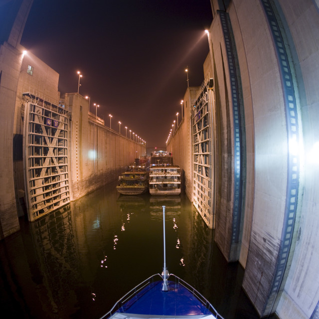 """""""Cruise liner in lock at Three Gorges Dam, Yangze River, China"""" stock image"""