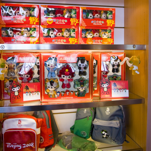 """""""2008 Olympic Games shop in Beijing selling official Olympics souvenirs with..."""" stock image"""