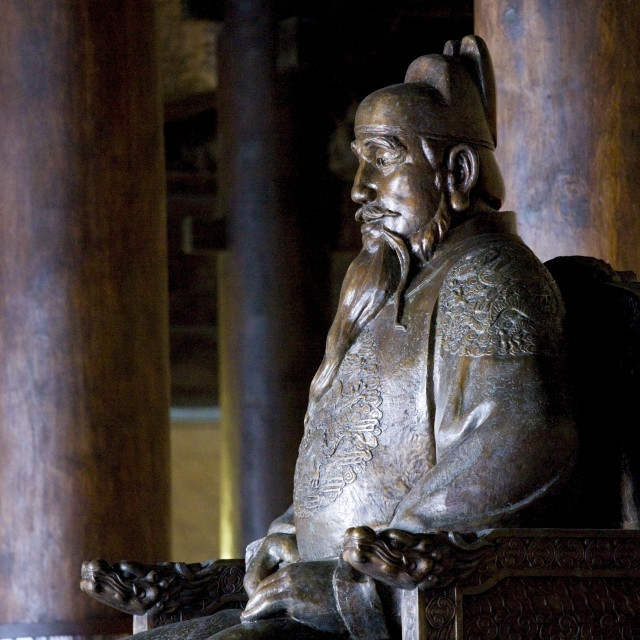"""Statue of the Yongle Emperor at the Ming Tombs site, Chang Ling Way, Beijing..."" stock image"
