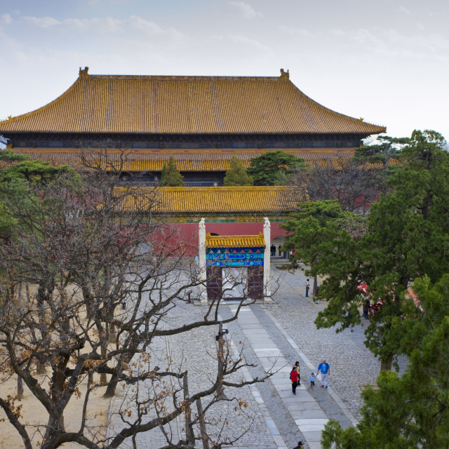 """Hall of Eminent Favor at the Ming Tombs, Chang Ling, Beijing (Peking), China"" stock image"